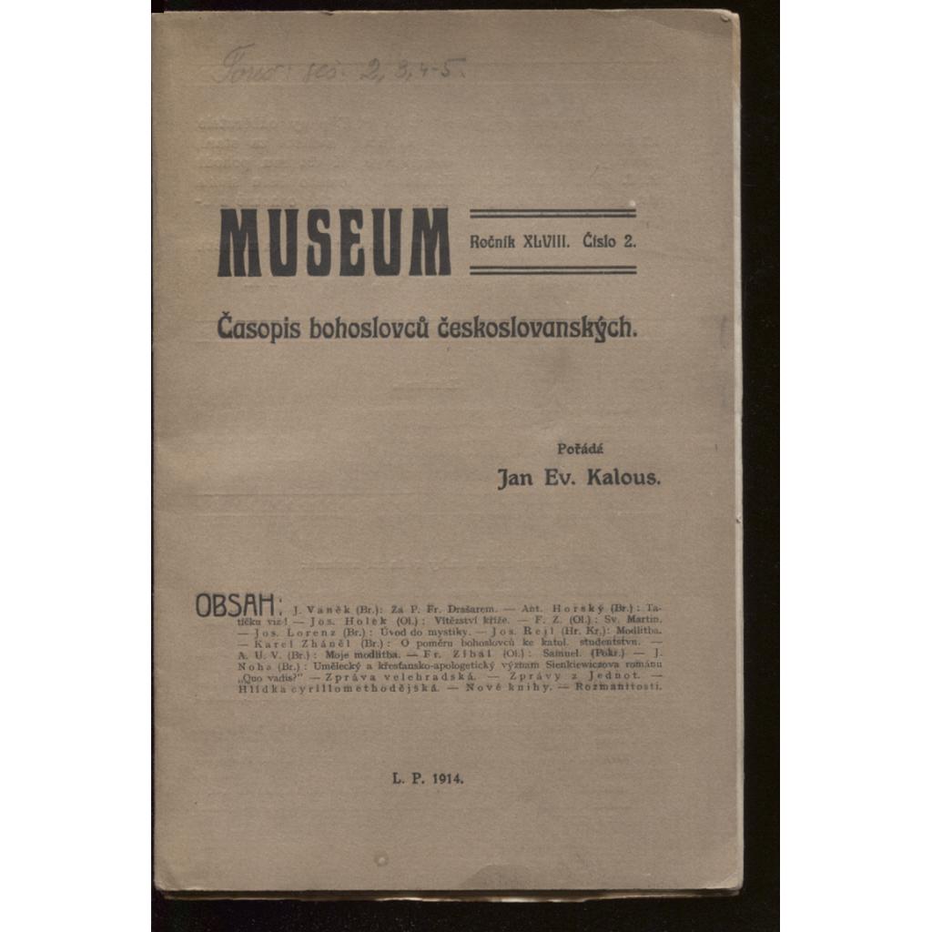 Museum, roč. XLVIII, číslo 2, 3 a 4-5. 1914