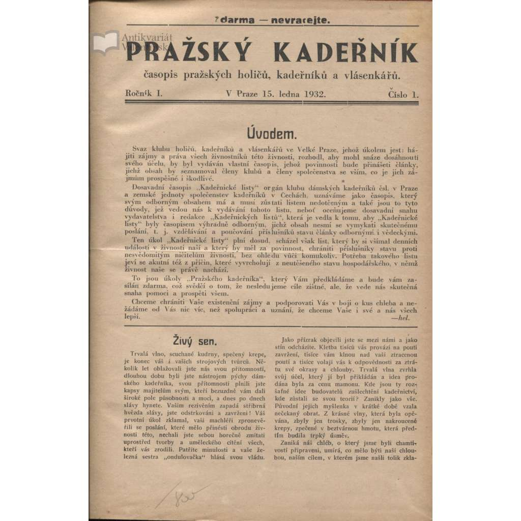 Pražský kadeřník, čísla 1-12, roč. I./1932 (móda)