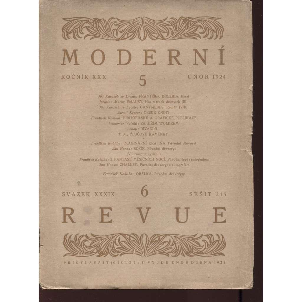 Moderní revue, roč. XXX., č. 5.-6. (sv. XXXIX.), 1924