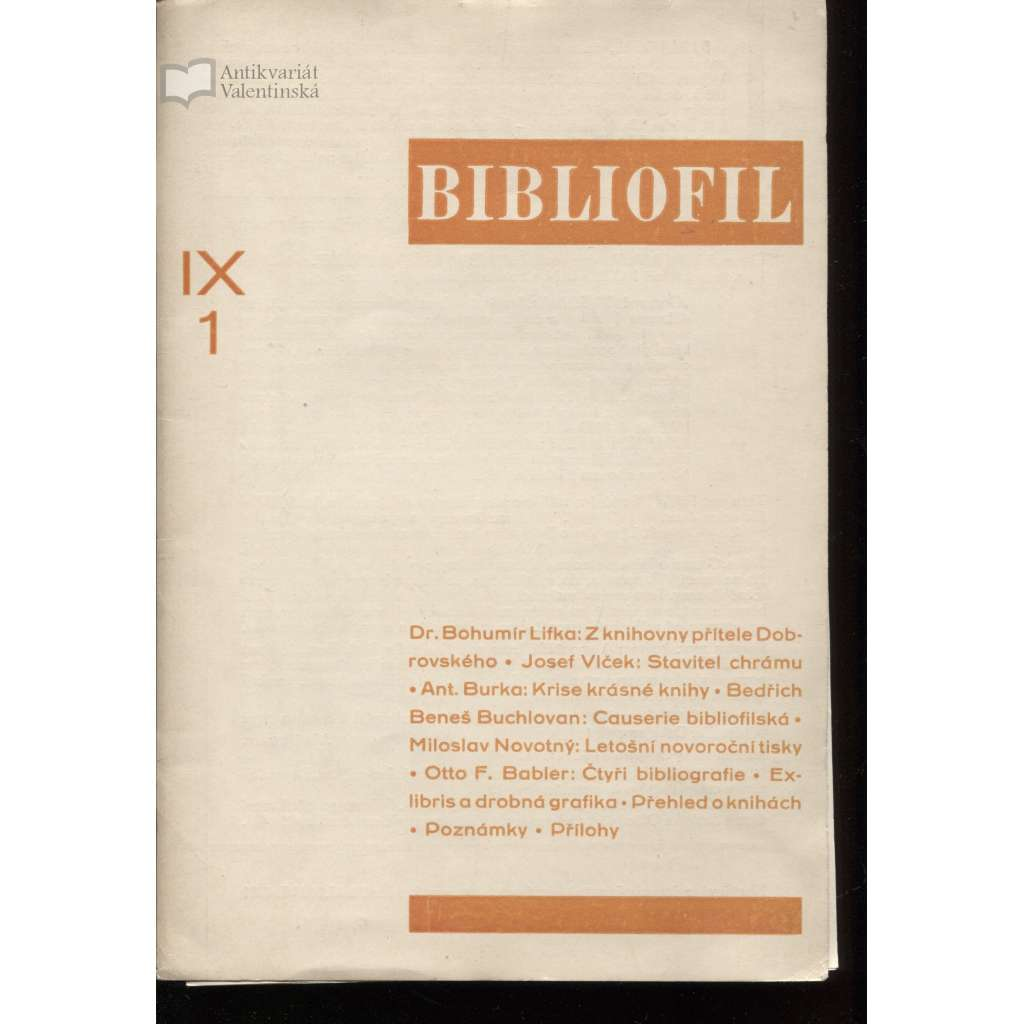 Bibliofil, ročník IX., čísla 1.-10./1932