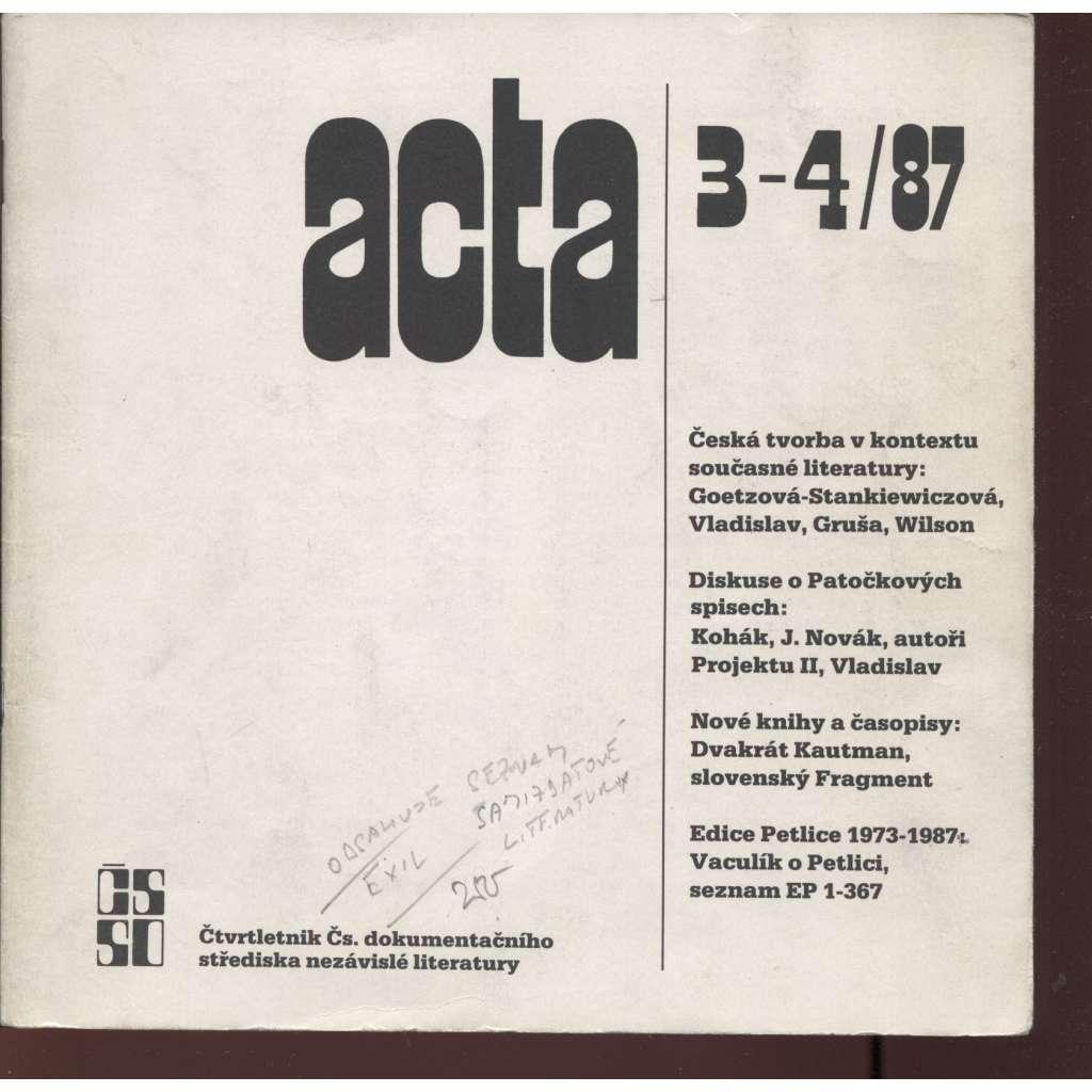 Acta, ročník 1, číslo 3-4, rok 1987
