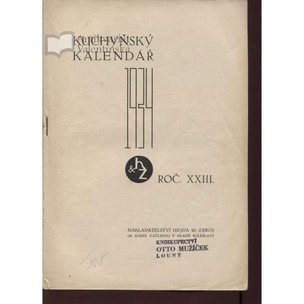 Kuchyňský kalendář 1934