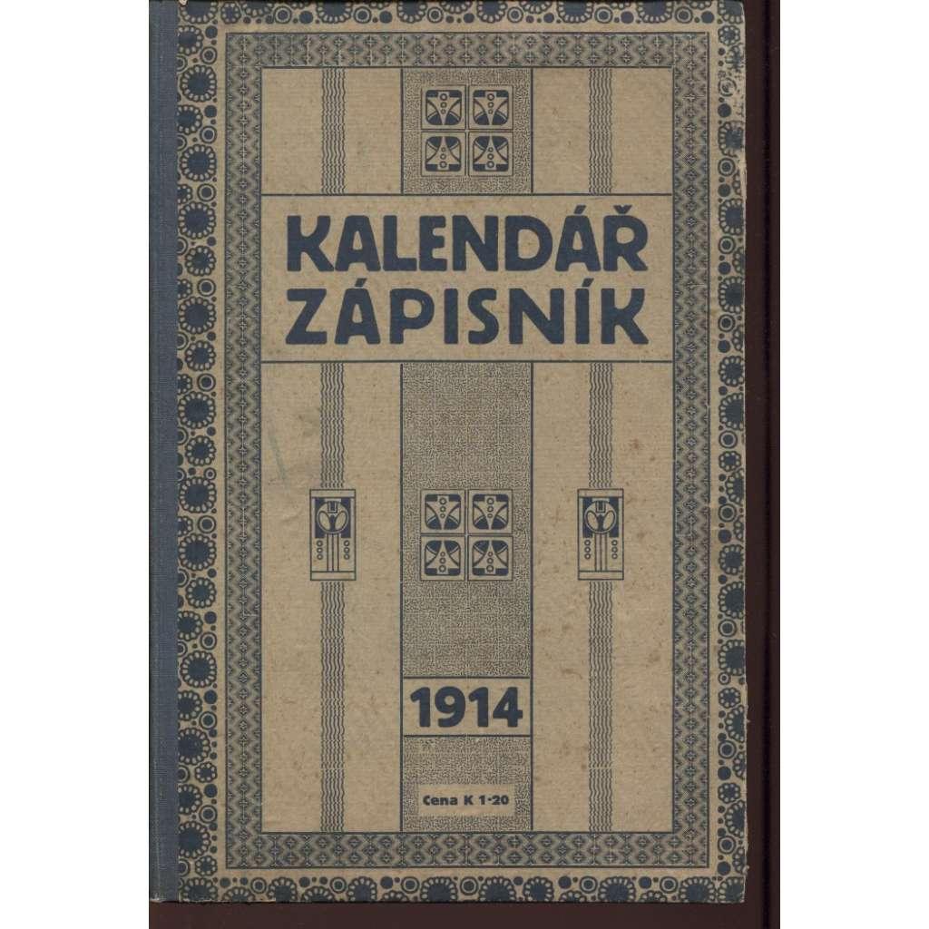Kalendář zápisník 1914