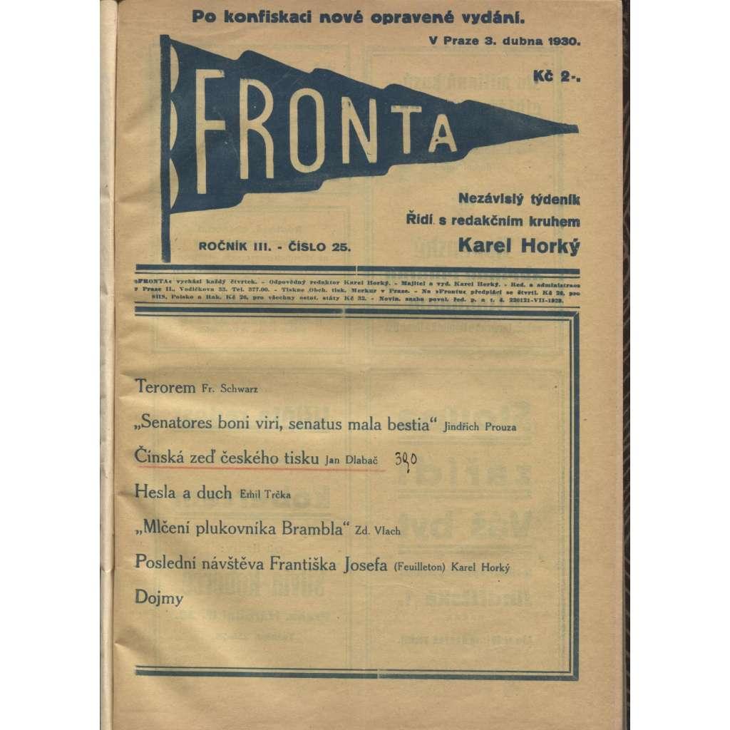 Fronta, ročník III/1930 a IV/1931 (Nezávislý týdeník) - konvolut