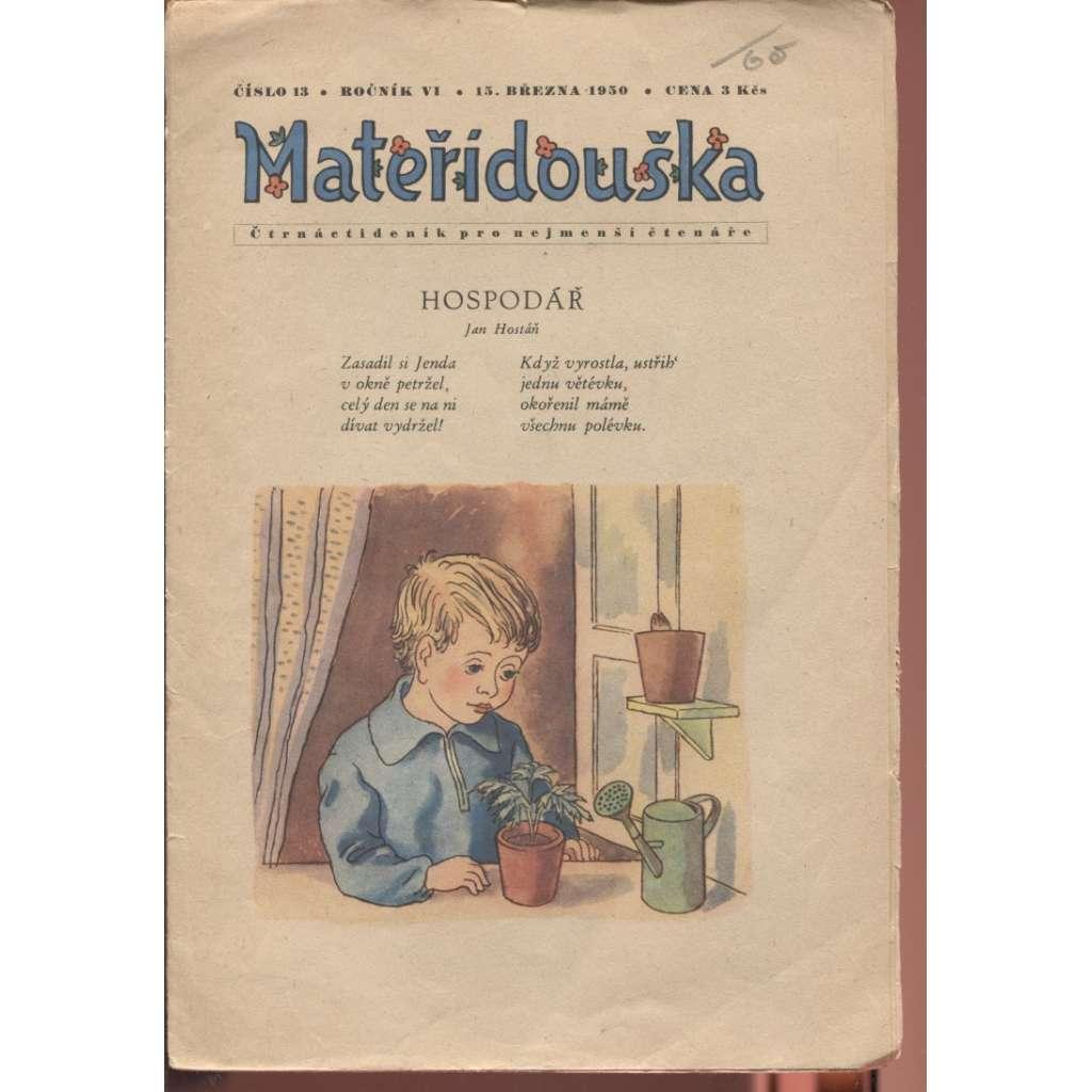 Časopis Mateřídouška, číslo 13, ročník VI./1950