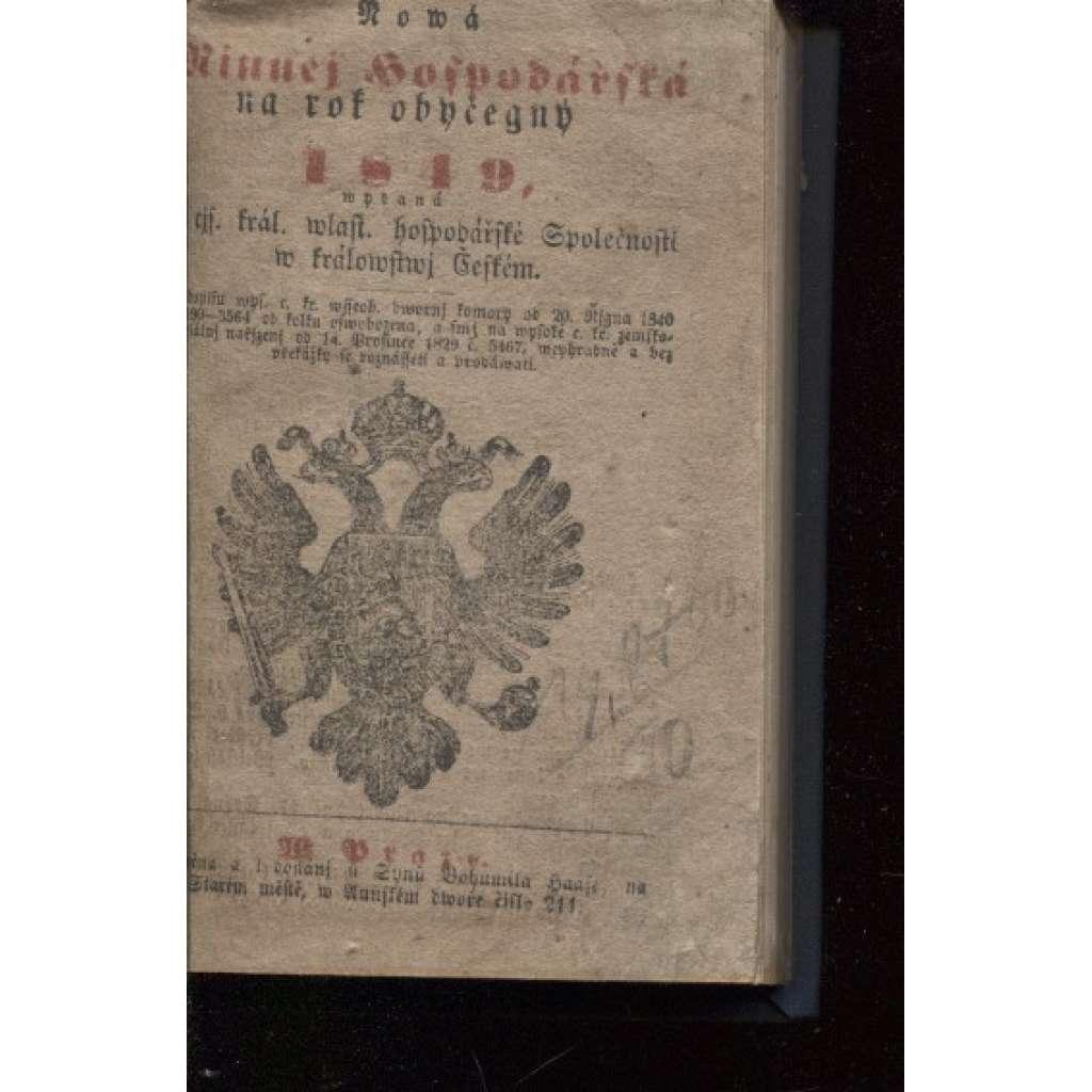 Nová minucí hospodářská na rok obyčejný 1849 (kalendář)