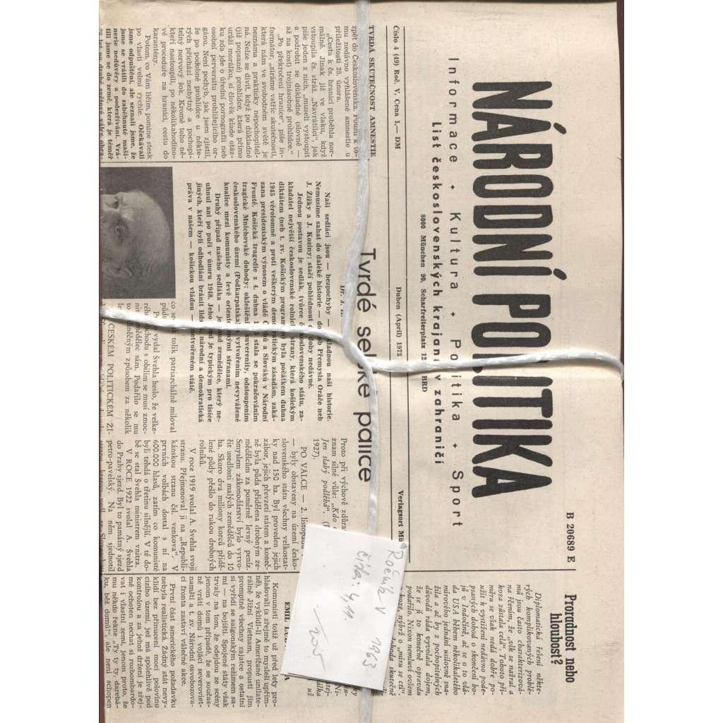 Národní politika. List československých krajanů v zahraničí, ročník V./1963, čísla 4 a 11 (Exil, Mnichov)