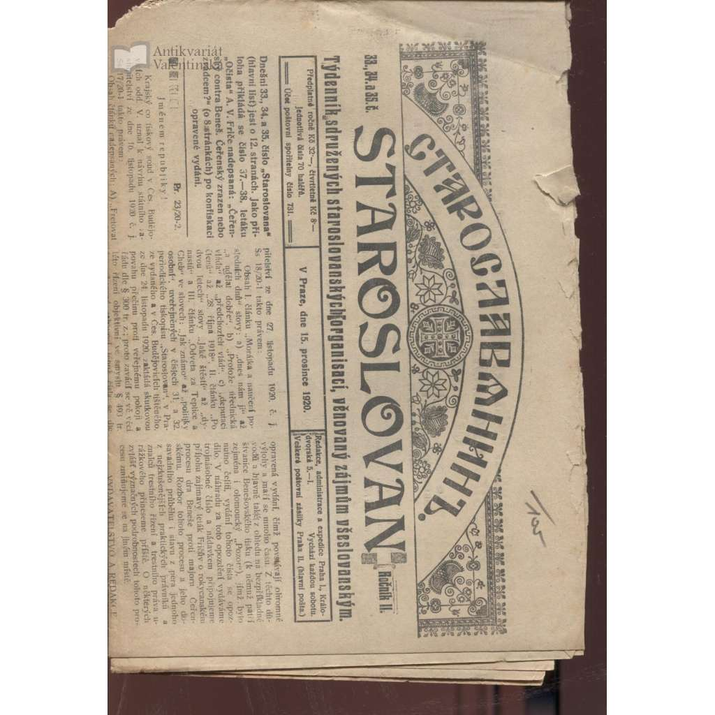 Staroslovan, roč. II., číslo 33., 34. a 35/1920. Týdenník sdružených staroslovanských organisací, věnovaný zájmům všeslovanským (noviny 1. republika)