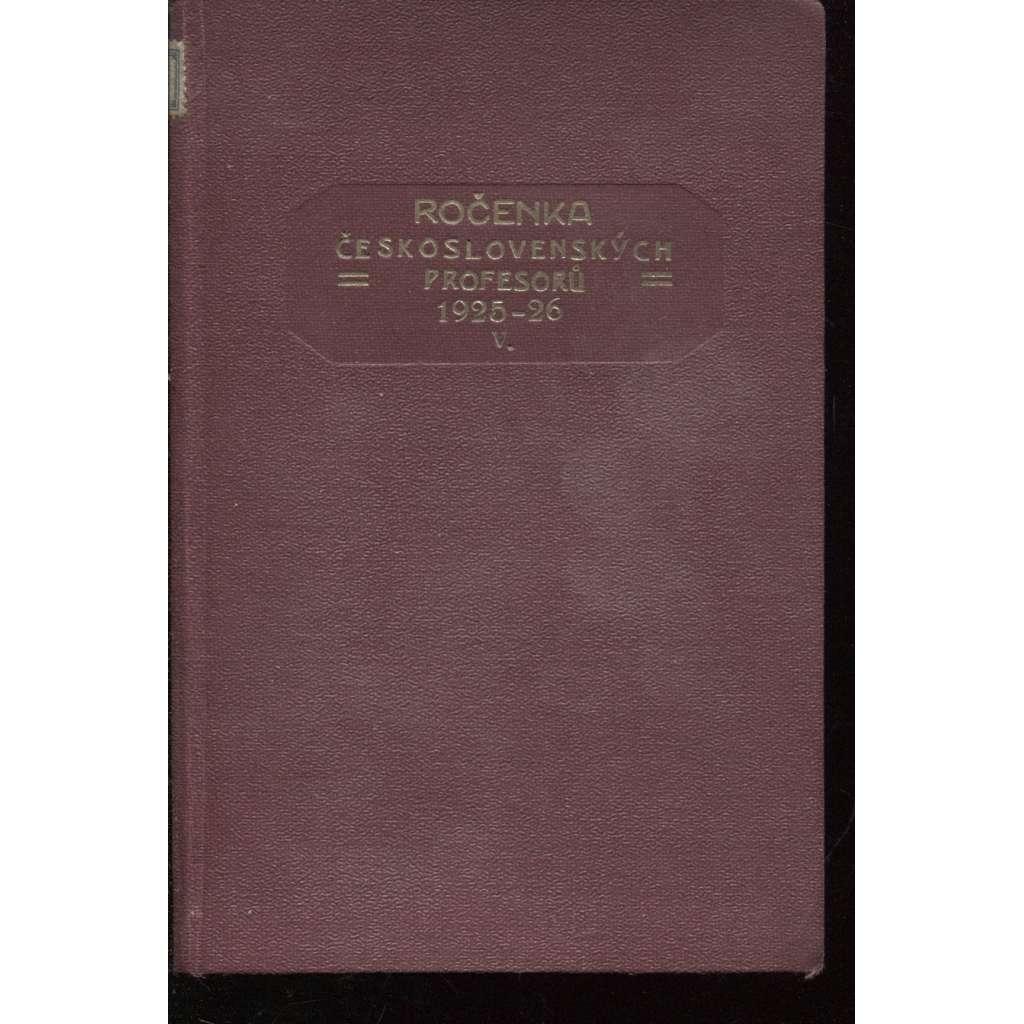 Ročenka československých prefesorů, školní rok 1925-26, V.