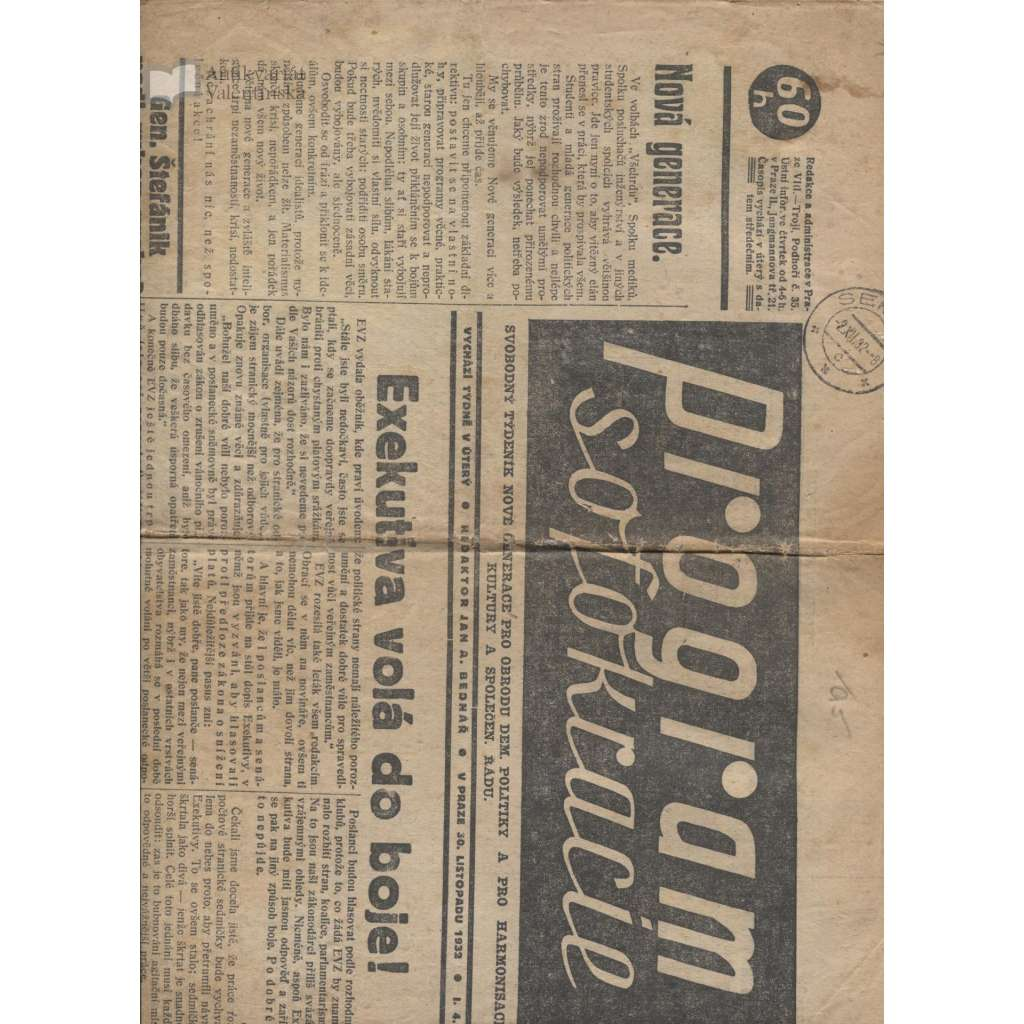Program sofokracie, ročník I., číslo 4/1932 (noviny 1. republika)