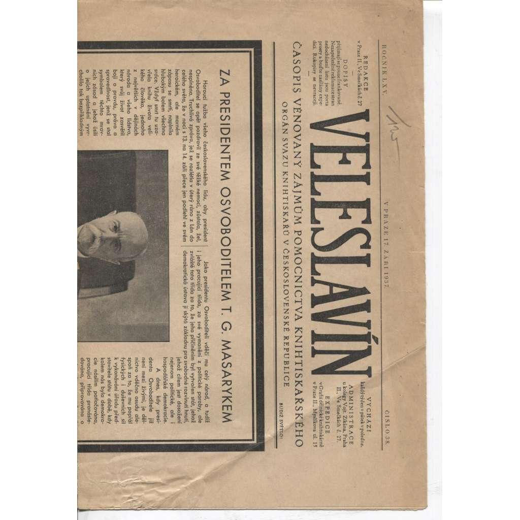 Veleslavín, ročník LXV., číslo 38/1937. Časopis věnovaný zájmům pomocnictva knihtiskařského (časopis 1. republika)