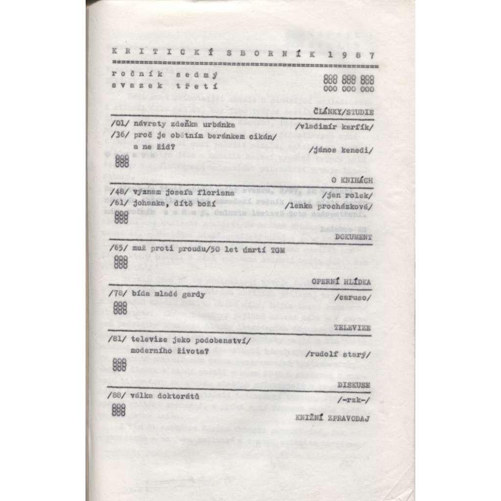 Kritický sborník 1987 (samizdat) Ročník 7., sv. 3.