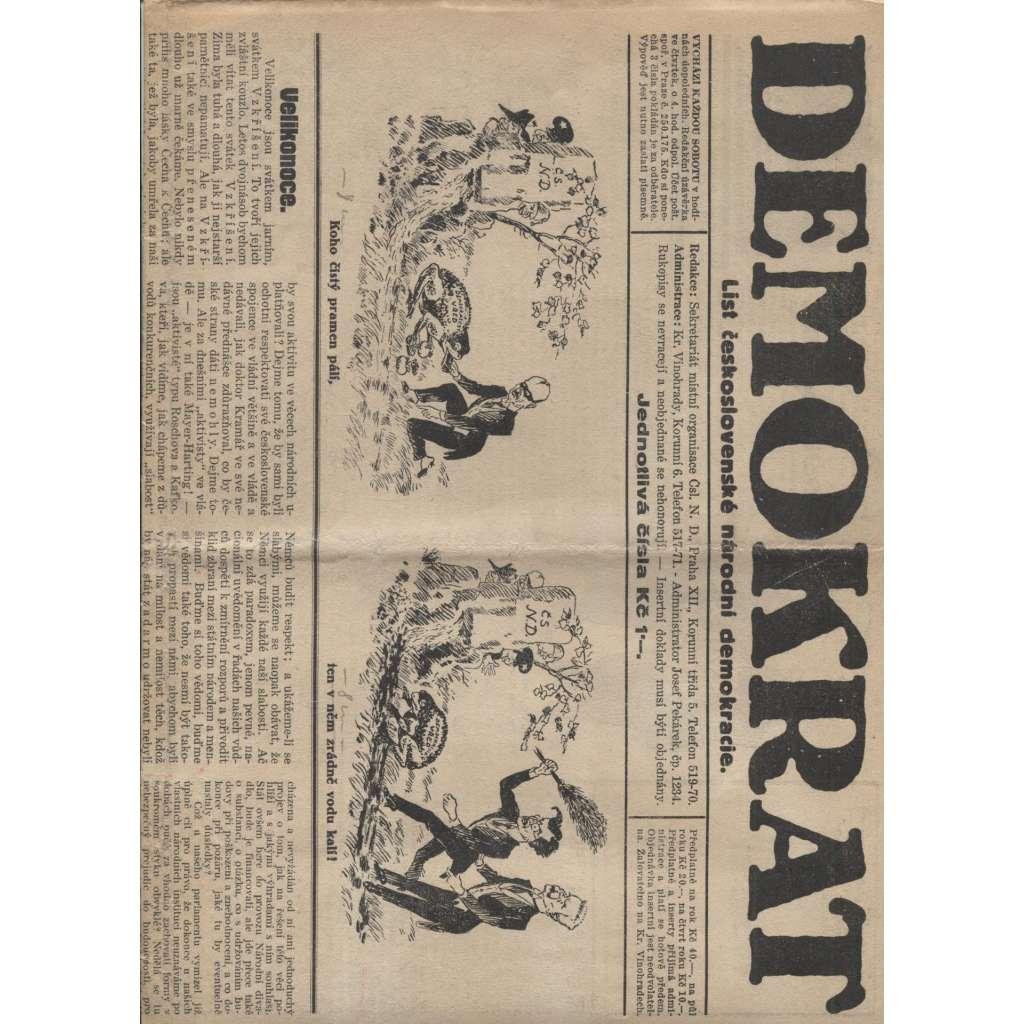 Demokrat, ročník XI., číslo 14.-15./1929 (noviny 1. republika)