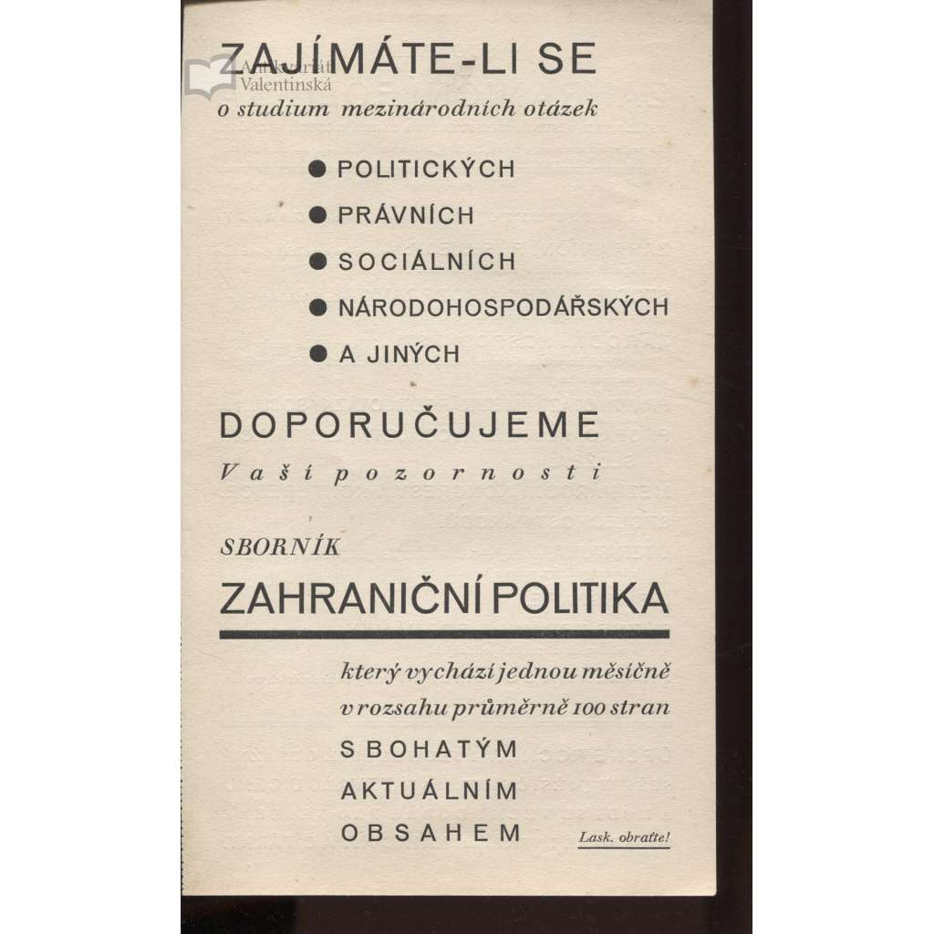 Zahraniční politika (reklamní brožura pro odběratele Zahraniční politiky)
