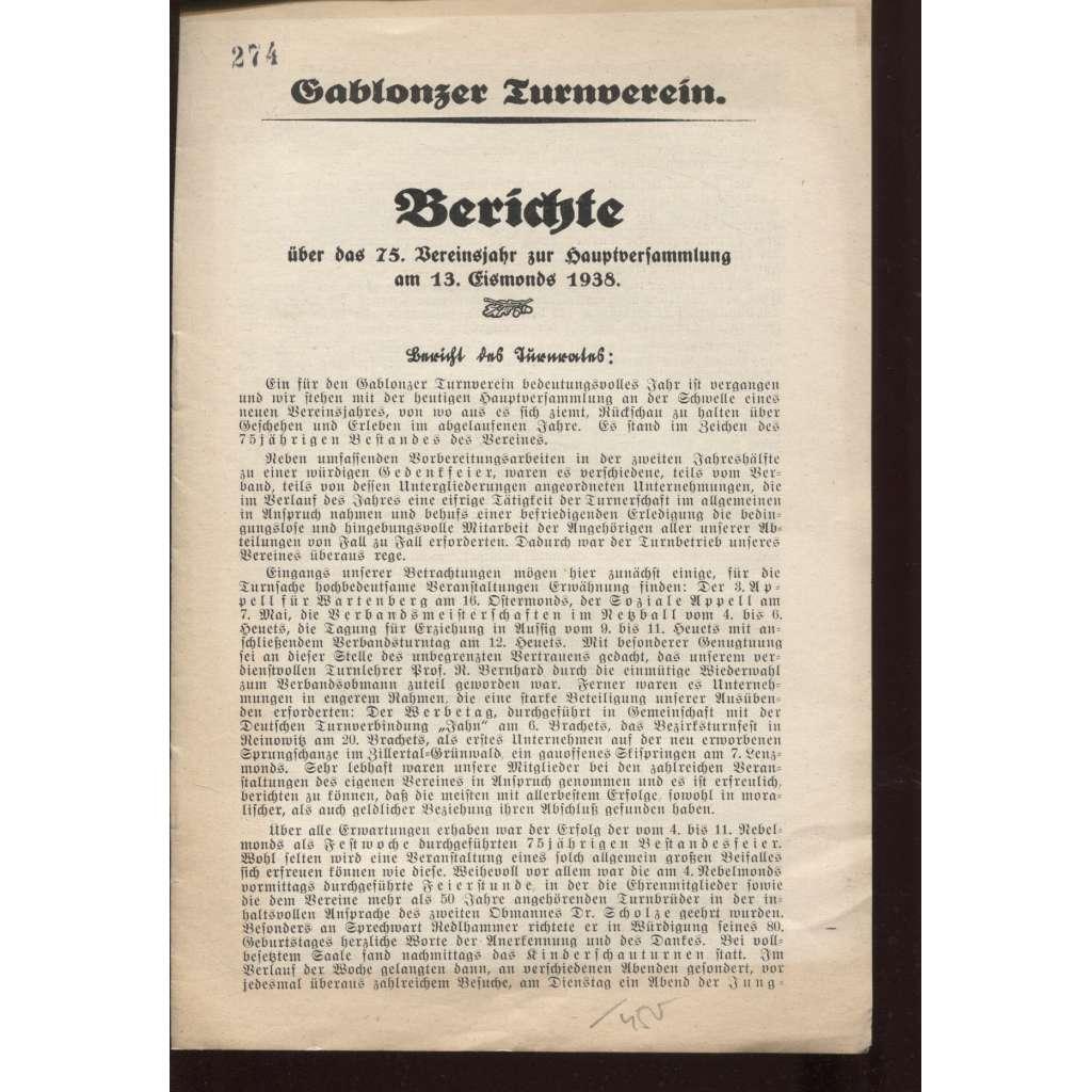 Berichte über das 75. Vereinsjahr - Gablonzer Turnverein (Jablonec nad Nisou - turneři)