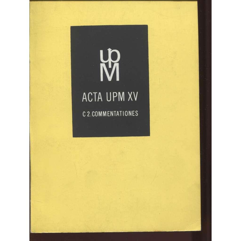 Acta UPM XV./1980. Sborník statí na počest 60. výročí narození PhDr. Dagmar Hejdové