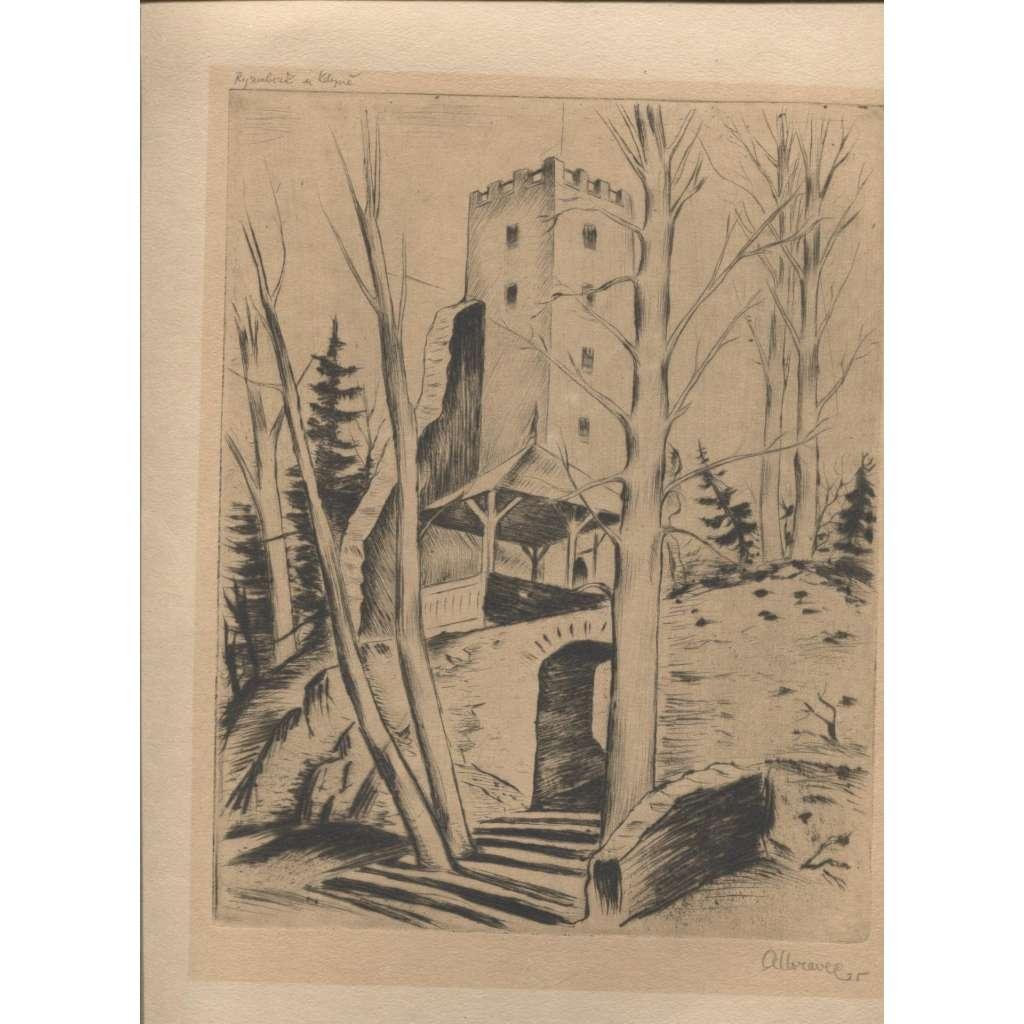 Rýzmberk u Kdyně / hrad  (suchá jehla, podpis Alois Moravec)