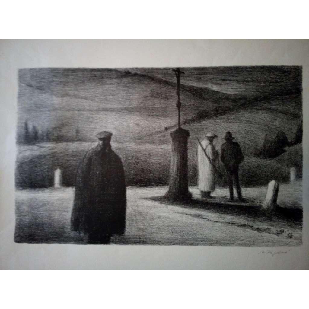 Čekání (litografie, Milada Kazdová)