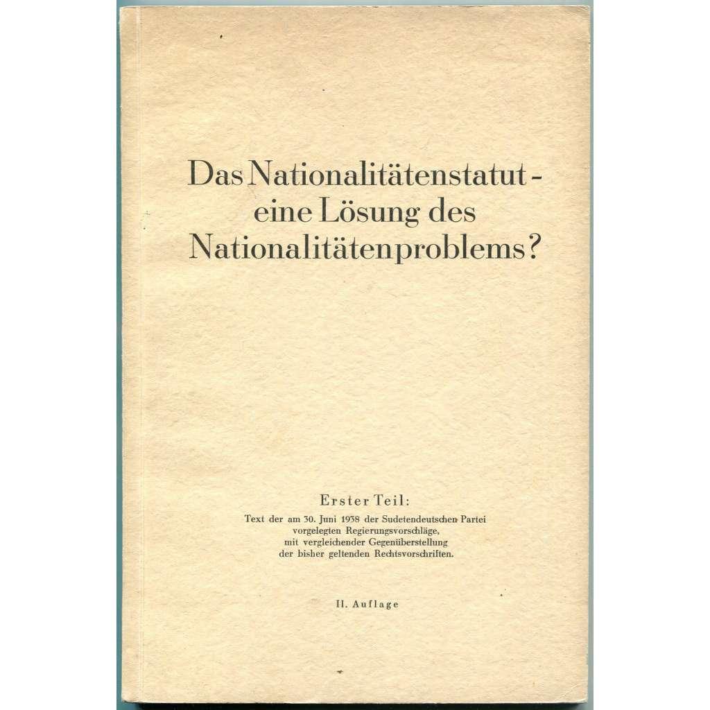 Das Nationalitätenstatut - eine Lösung des Nationalitätenproblems? Erster Teil [sudetští Němci; Sudety; propaganda; první republika; menšiny]