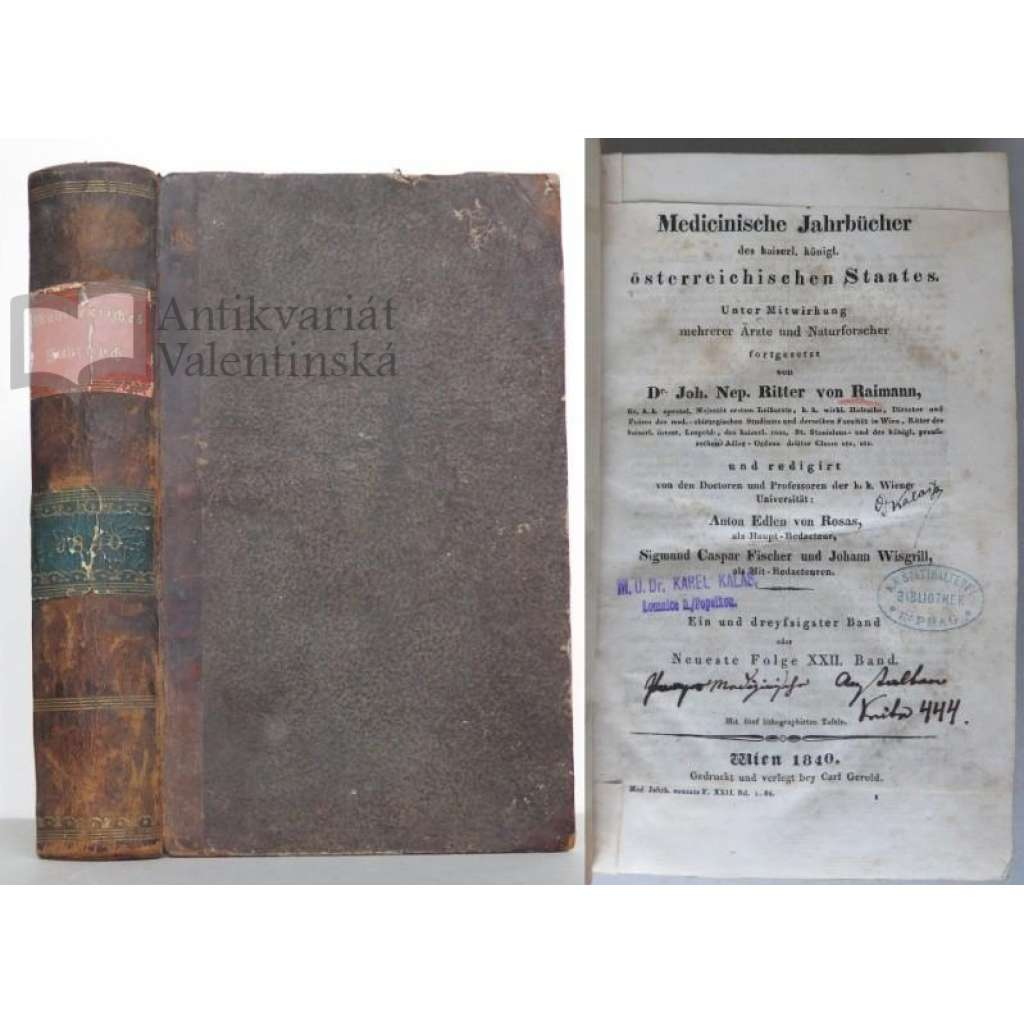 Medicinische Jahrbücher des kaiserl. königl. österreichischen Staates [ročenka; medicína; lékařství; dějiny; historie; 19. století; Rakousko]