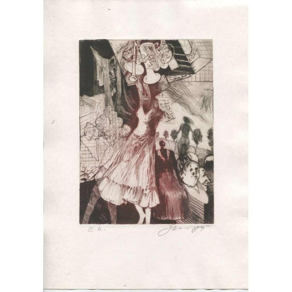 Jazzová tanečnice (lept, 1984, Josef Černý)