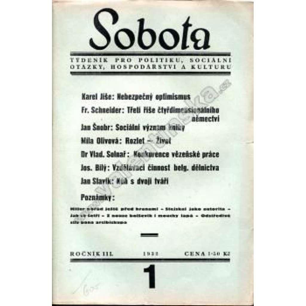 Týdeník Sobota, konvolut III. ročníku (1932)