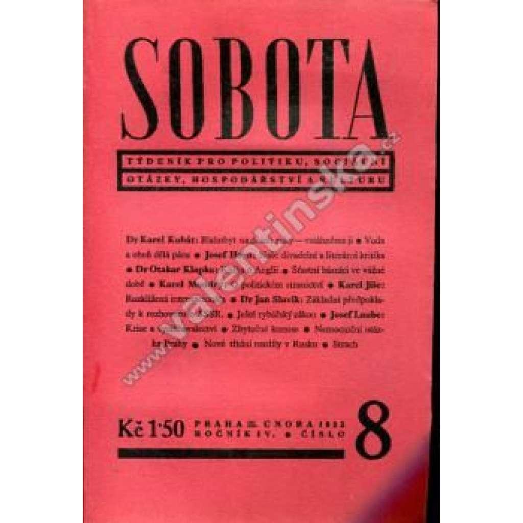 Týdeník Sobota, konvolut IV. ročníku (1933)