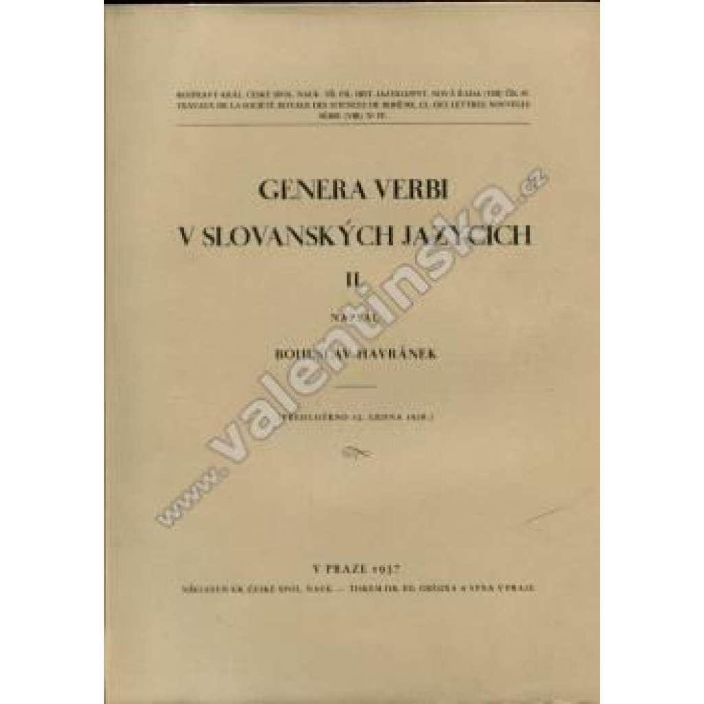 Genera verbi v slovanských jazycích, II.