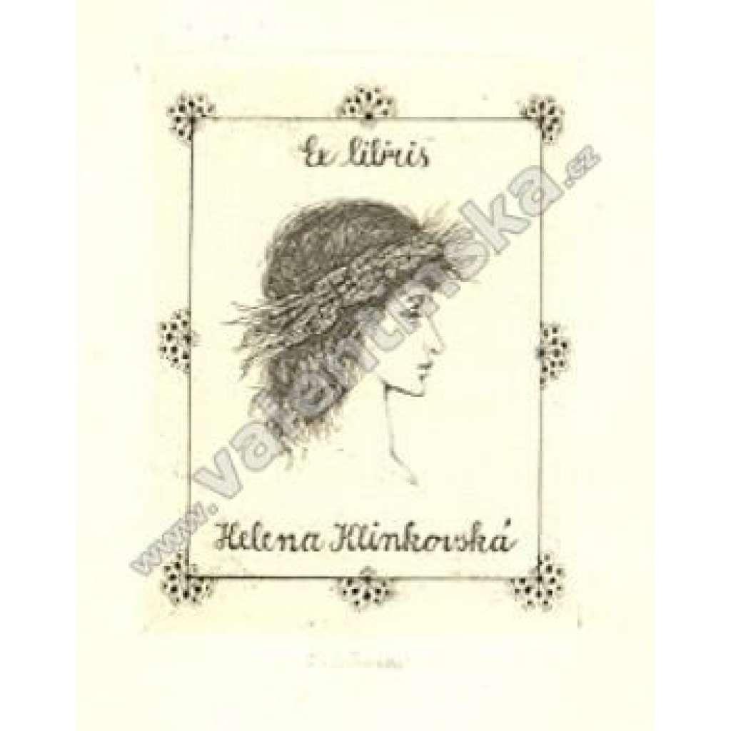 Dívčí hlava EX libris H. Klinkovská