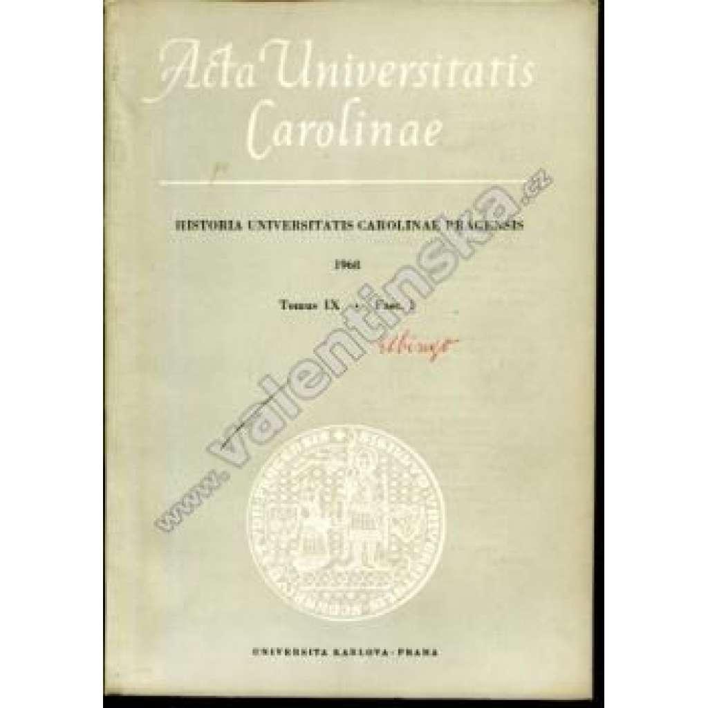 Historia Universitatis Carolinae Pragensis, IX/1