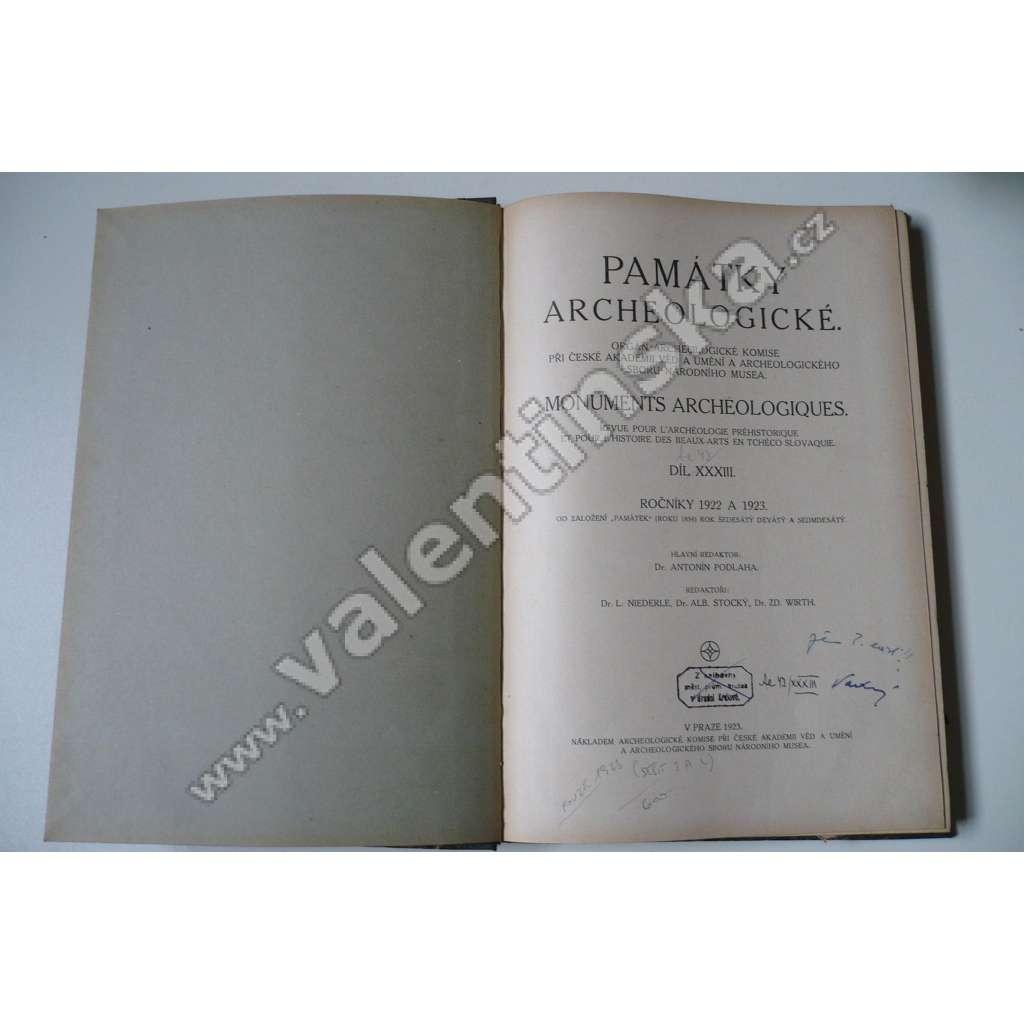 Památky archeologické XXXIII. 1922/23, číslo 3+4