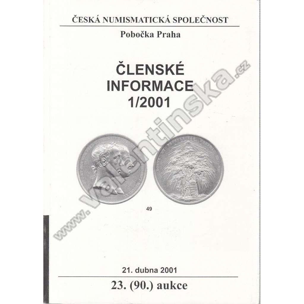 Česká numismatická spol., Členské informace 1/2001