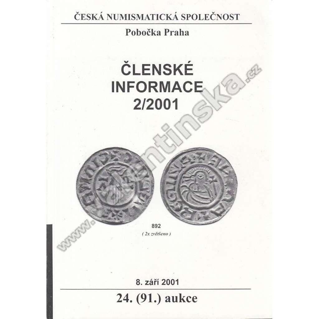 Česká numismatická spol., Členské informace 2/2001