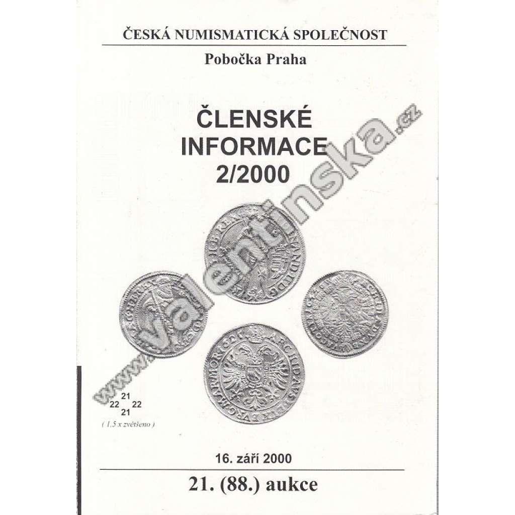 Česká numismatická spol., Členské informace 2/2000