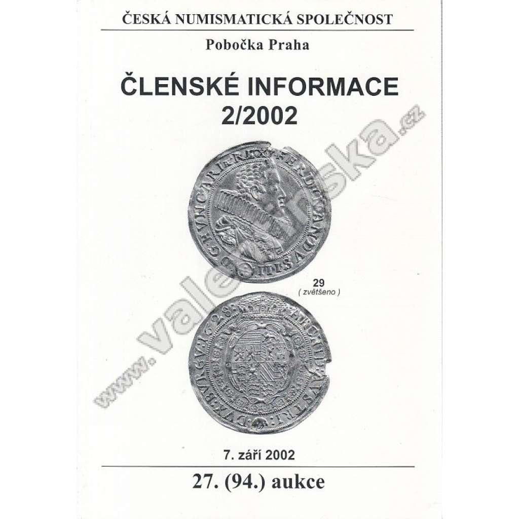 Česká numismatická spol., Členské informace 2/2002