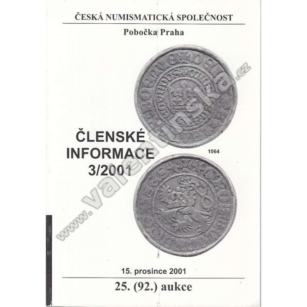 Česká numismatická spol., Členské informace 3/2001