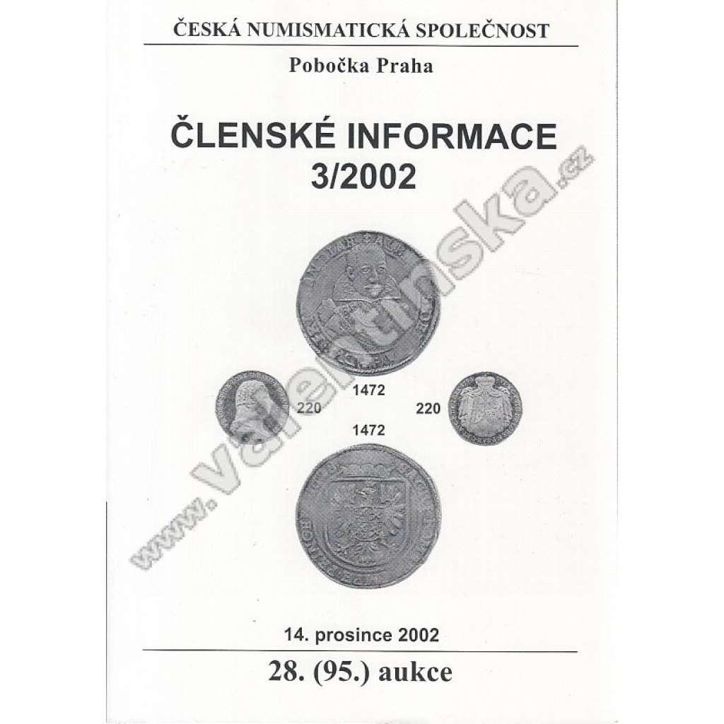 Česká numismatická spol., Členské informace 3/2002