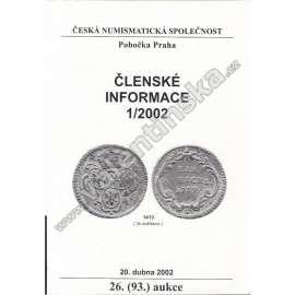 Česká numismatická spol., Členské informace 1/2002