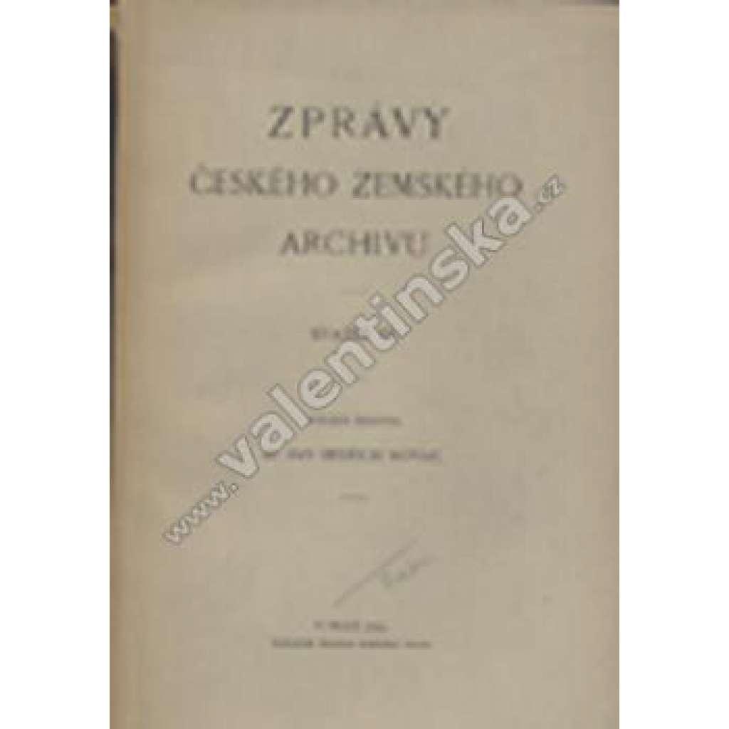 Zprávy českého zemského archivu, svazek IX.