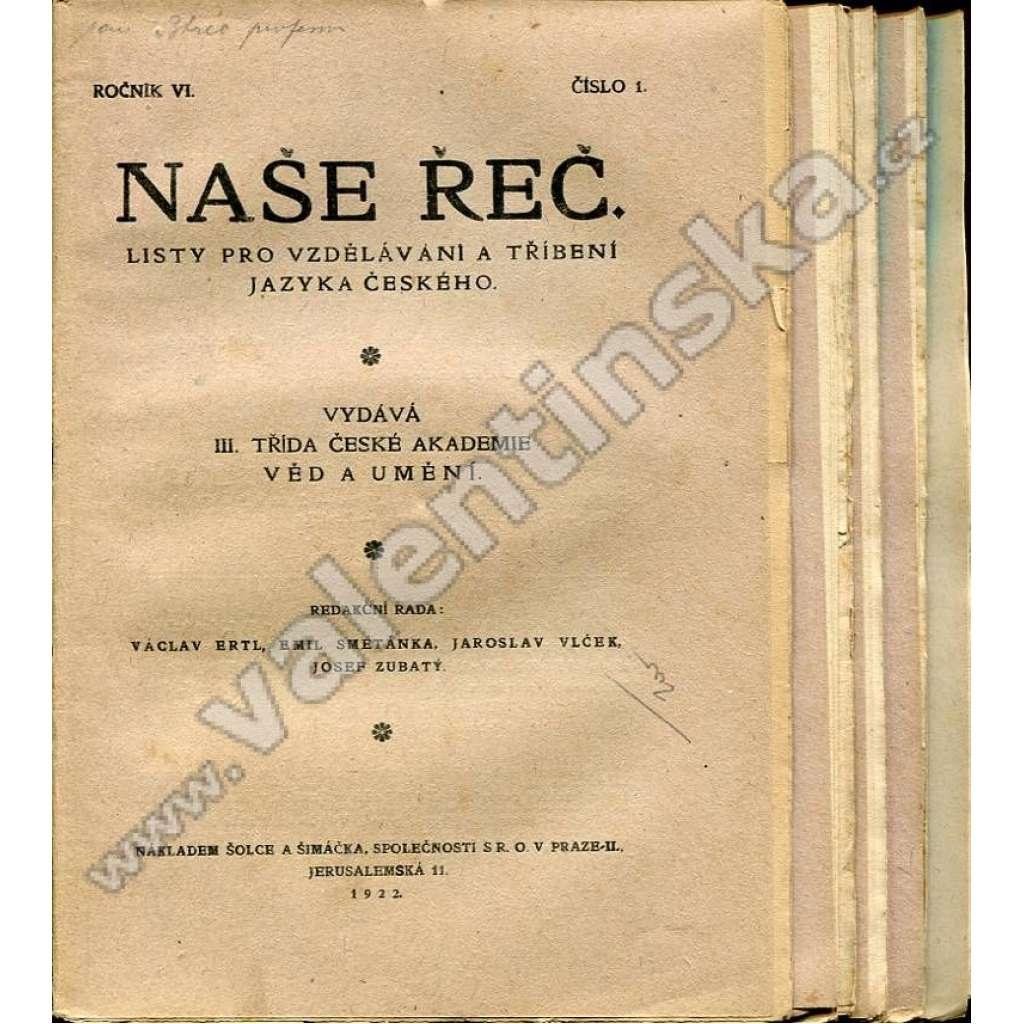 Naše řeč, r. VI. (1922) - v sešitech