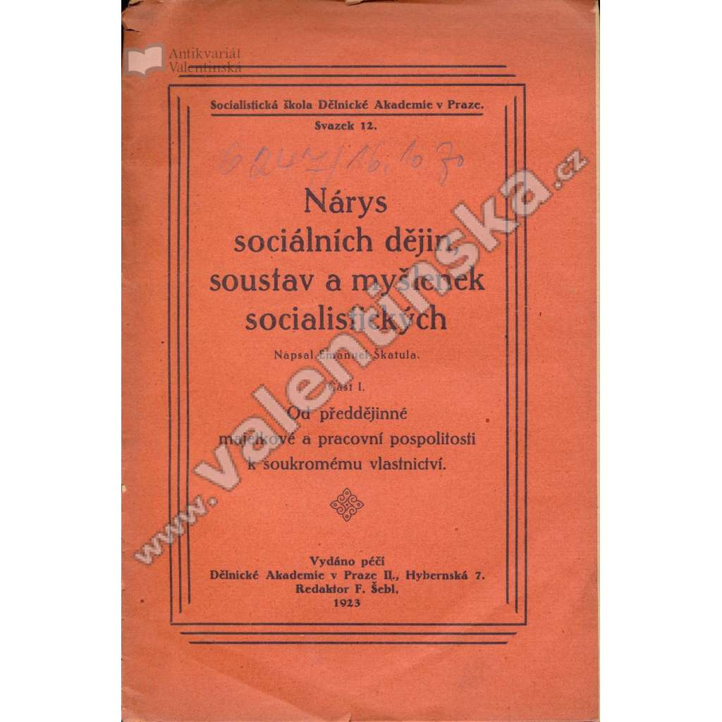 Nárys sociálních dějin, soustav a myšlenek...