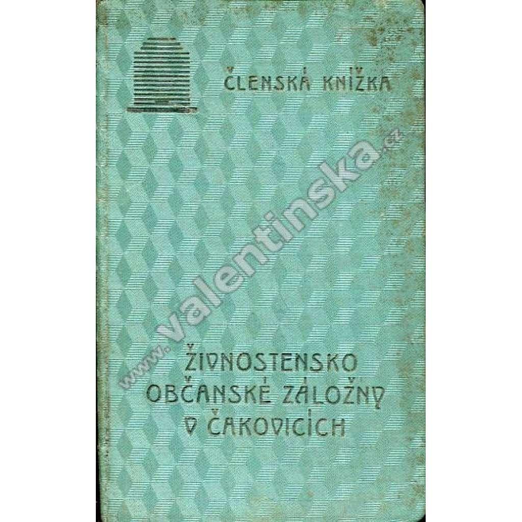 Členská knížka - záložna Čakovice