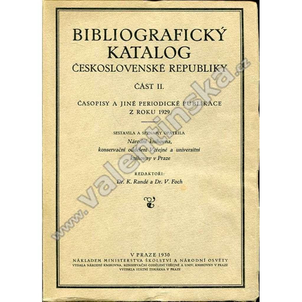 Časopisy a jiné periodické publikace z r. 1929