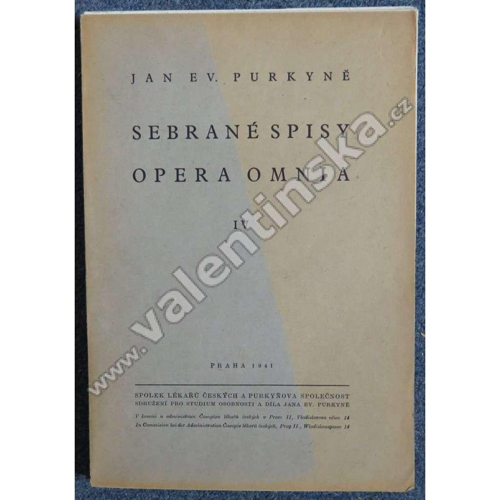 Johannes Ev. Purkyne Opera Omnia, Tomus IV