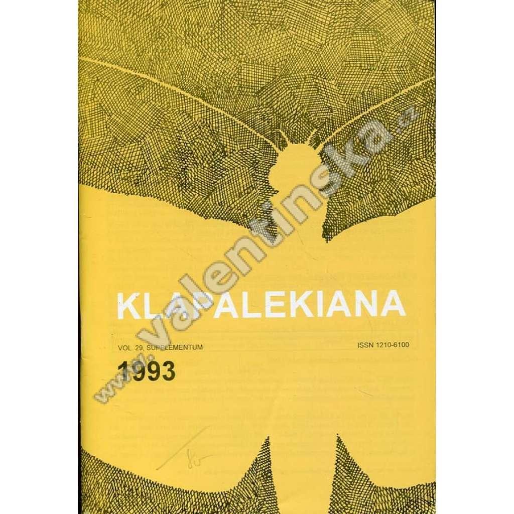 Klapalekiana, vol. 29 (1993), supplementum