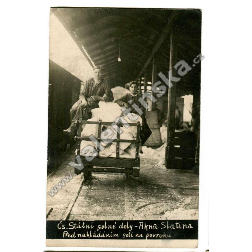 Akna Slatina, důl továrna těžba železnice