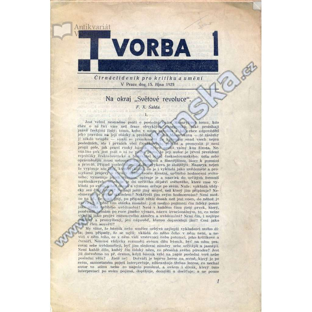 Tvorba, 1/1925