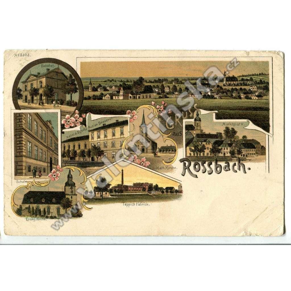 Hranice u Aše Rossbach,, Aš, Cheb, litografie
