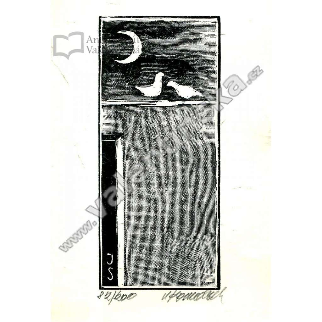 Signovaný dřevoryt * Noční romance